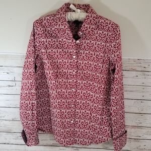 TALBOTS Red and Wite Print Button Down Size:8